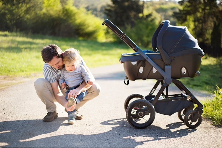 father-with-little-son-and-baby-daughter-in-stroller-sunny-park-picture-id697917930