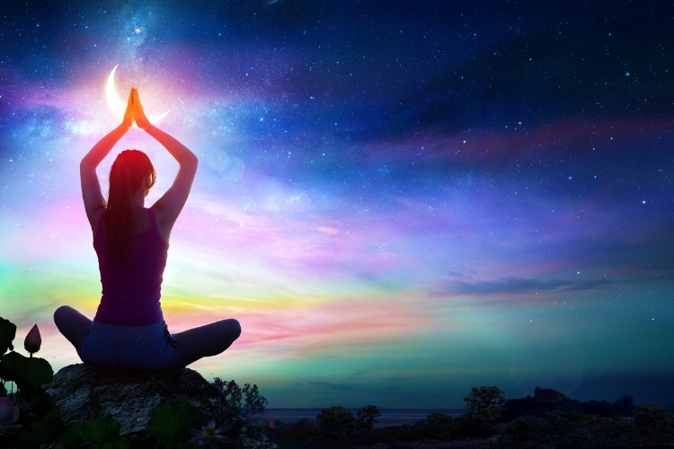 woman-doing-yoga-spiritual-contemplation-picture-id800886296