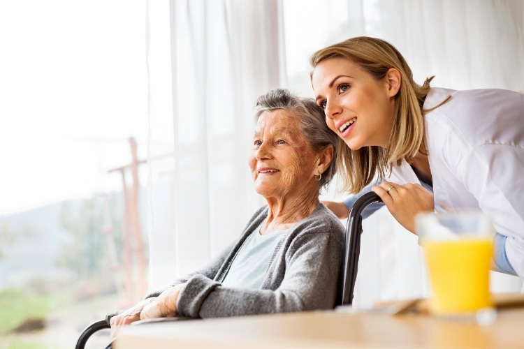 health-visitor-and-a-senior-woman-during-home-visit-picture-id879005182