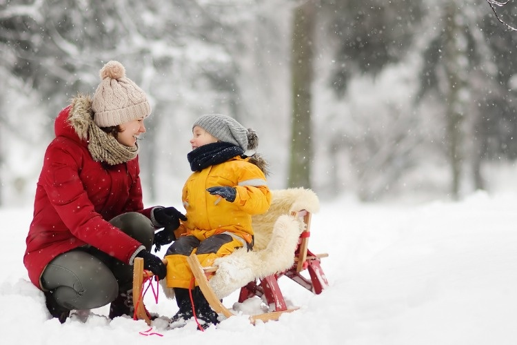 mothernanny-talk-with-small-child-during-sledding-in-winter-park-picture-id1060437696