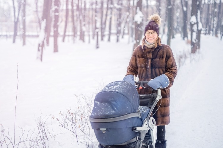 woman-walking-with-stroller-in-forest-at-winter-picture-id902694220