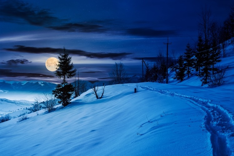 rural-footpath-through-snowy-hillside-at-night-picture-id874533954_01